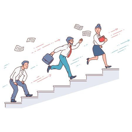 Businessman running up the stairs in a race against other people, business success and career growth concept with other competitors, work competition ladder - isolated flat vector illustration 일러스트