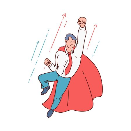 Superhero business man in office suit and red cape flying in confident pose with fist up, career growth chart with arrows and happy worker flying to success Иллюстрация