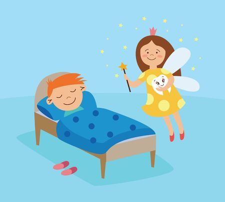 Tooth fairy visiting a sleeping boy, fantasy girl in a crown flying in the room with magic wand, smiling and holding a tooth, dental health visual lesson - flat hand drawn cartoon vector illustration