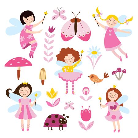 Rainbow set of cute fairies or elves girls flying among flowers and beetles cartoon flat vector illustration isolated on white background. Characters for childish design.