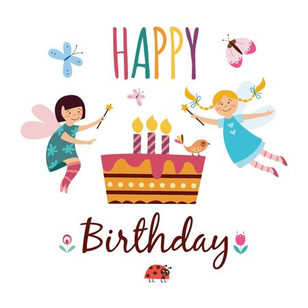 Happy birthday - children greeting card with cute fairy girls with magic wands flying over party cake with lit candles, butterfies and birds, hand drawn vector illustration on white background