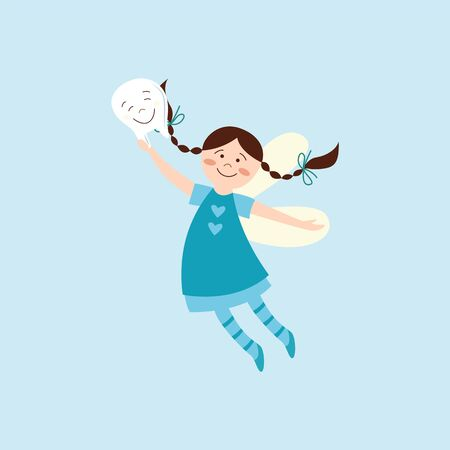Cute tooth fairy happy about getting a tooth. Fantasy cartoon character with wings and blue dress smiling and flying in air, hand drawn girl with braids - flat vector illustration