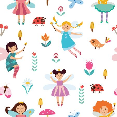 Seamless childish pattern with cute fairies or elves girls flying among flowers Foto de archivo - 125390614