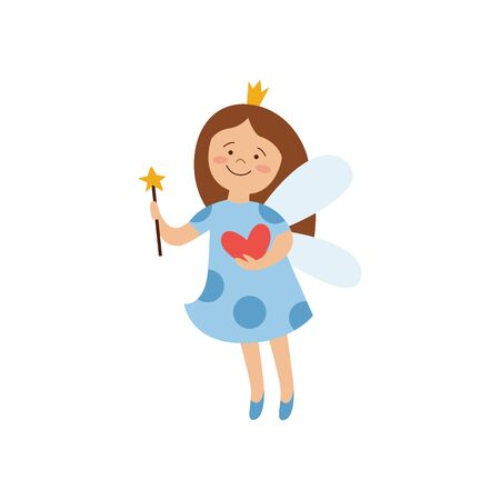 Magic fairy princess in blue hospital gown holding a heart, cute little girl with wings, crown and star wand