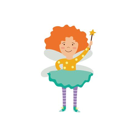 Cute ginger fairy girl with magic wand and wings the cartoon flat vector illustration isolated on white background. Fantasy elf flying character for children's projects.