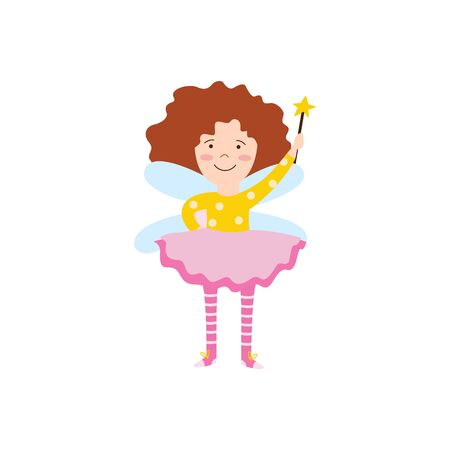 Cartoon fairy girl with magic wand flying and smiling, cute ginger child in pink and yellow fantasy outfit with wings ready to cast a spell. Isolated hand drawn flat vector illustration 向量圖像