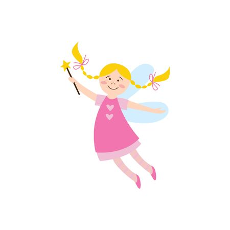 Cheerful cute fairy girl or elf in a pink dress with magic wand the cartoon flat vector illustration isolated on white background. Fantasy flying childish character.