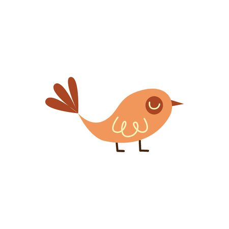 Cute bird in childish flat style vector illustration isolated on white background. Beautiful nestling the garden and nature element for scrapbooking and kids design.