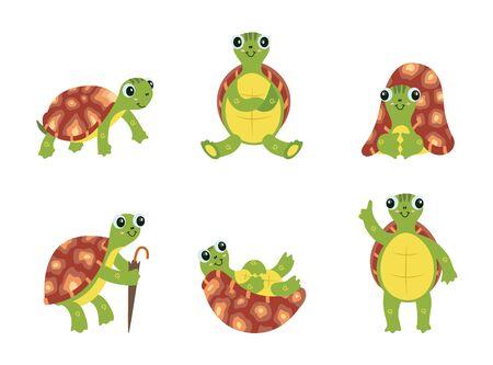 Happy cartoon turtle set Ilustração