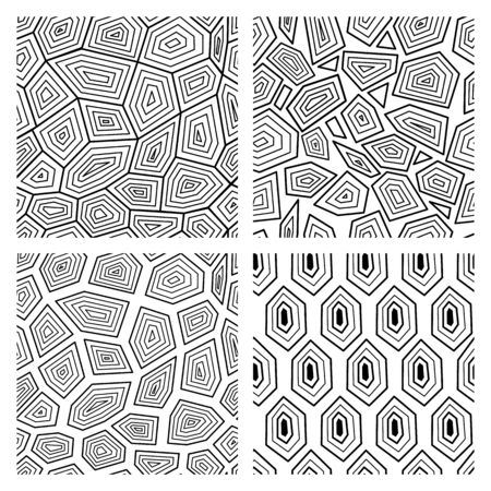Geometric seamless art deco pattern repeating the ornament of turtle shell black and white