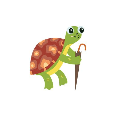 Cartoon reptile turtle funny character with umbrella