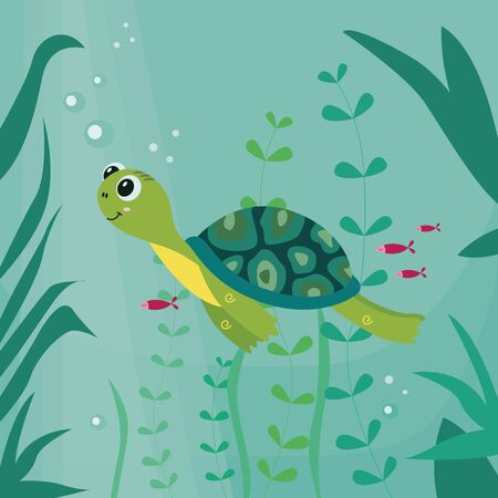 Cartoon turtle funny character swimming Foto de archivo - 125390625
