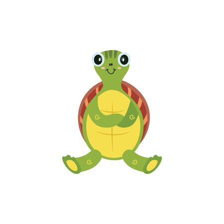 Cute cartoon turtle isolated on white
