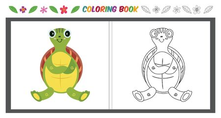 Children's color page with cute turtle outline image and color example Standard-Bild - 125390217