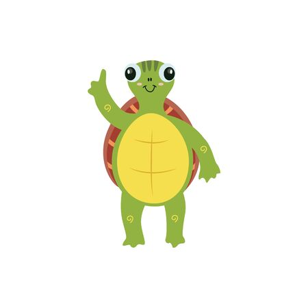 Cute cartoon turtle with raised arm pointing a finger as if about to tell an interesting fact.