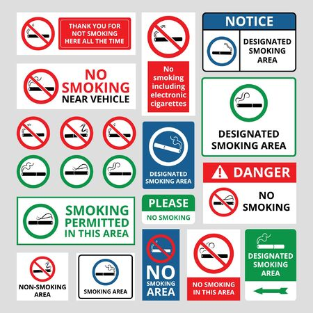 No smoking awareness and prohibition sign icons and banners set