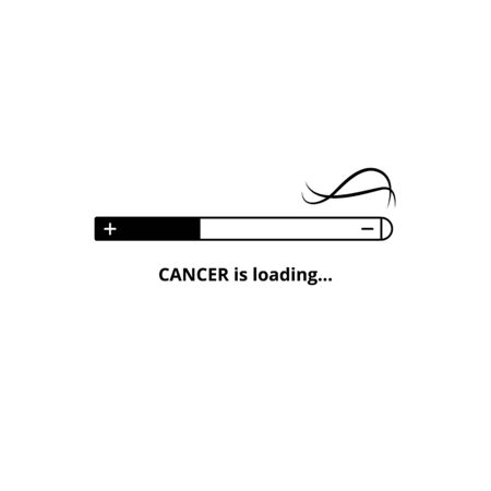 Cancer is loading - smoking hazard warning for human health. Burning cigarette turned into progress bar filling up half way, tobacco and nicotine addiction danger - isolated vector illustration