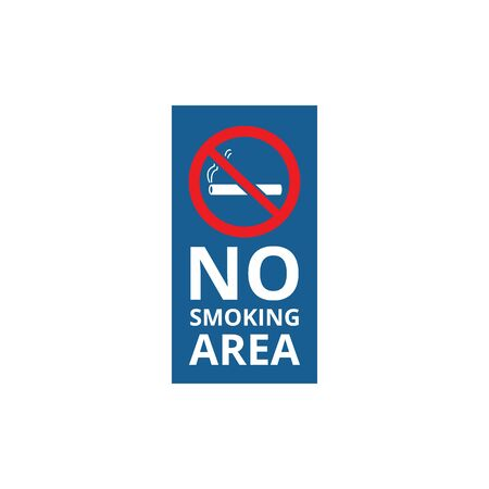 No smoking area - blue banner with crossed out red cigarette symbol. Stop sign for smokers in public space, smoke-free area rectangle sticker isolated on white background - vector illustration