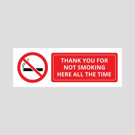 Warning sign - Thank you for not smoking here. Smoke-free area banner with crossed out cigarette symbol and text, red icon isolated on white