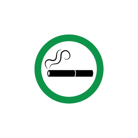 Green cigarette icon for designated smoking area sign. Flat round isolated cartoon sticker for smoke permission zone in public space Banque d'images - 125390222