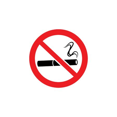 No smoking sign - lit cigarette drawing inside red crossed out circle, forbidden activity warning information for public area - isolated flat vector illustration on white background 向量圖像