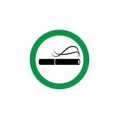 Se permite fumar: icono verde con cigarrillo encendido para el área de humo público. Ilustración de vector de estilo de dibujos animados plana del símbolo de cigarro clásico dentro de signo de círculo rojo aislado sobre fondo blanco Ilustración de vector