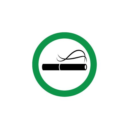 Smoking allowed - green icon with lit cigarette for public smoke area. Vector illustration in flat cartoon style of classic cigar symbol inside red circle sign isolated on white background