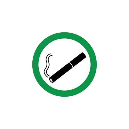 Green cigarette sign for smoking area, round sticker sign for smoke permitted zone in public space, circle symbol with lit cigar inside. Isolated flat vector illustration on white background.
