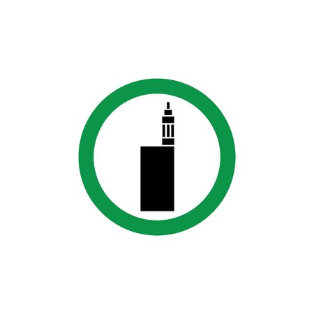Vaping area icon - green circle sign with vape cigarette symbol. Banque d'images - 125390223