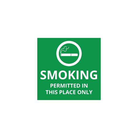 Smoking permitted in this place only - green icon with cigarette symbol for smoke area, public health safety restriction in square flat banner, isolated vector illustration on white background