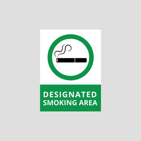 Smoking area poster isolated on grey background, flat cigarette icon on green circle frame with designated zone text, lit cigar with smoke symbol - vector illustration Stock fotó - 128171114