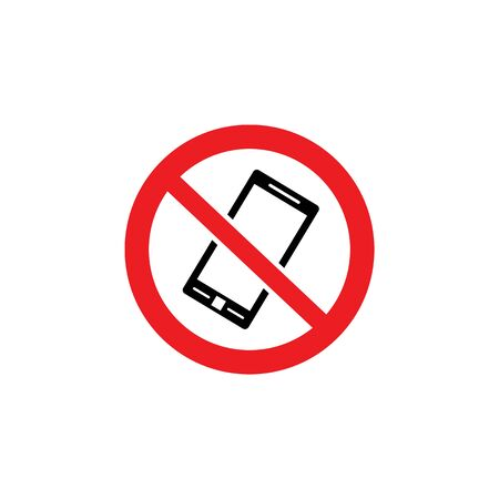 No phone allowed symbol - black telephone icon inside crossed out red circle. Public communication restriction sigh isolated on white background, flat vector illustration