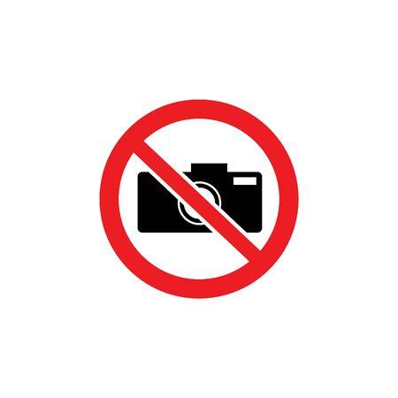 Ningún icono de cámara dentro del signo de círculo rojo tachado. Símbolo de restricción de fotografía en área protegida, prohibición de tomar una foto sin permiso