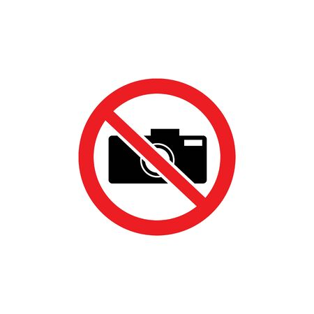 No camera icon inside red crossed out circle sign. Photography restriction symbol in protected area, ban on taking a photo without permission