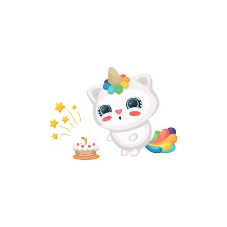 Cartoon cat unicorn blowing candles on birthday cake, cute happy white kitten with rainbow horn and tail having a party, sweet childish vector sticker illustration isolated on white background Illustration