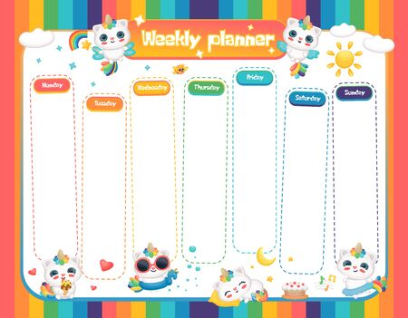 Weekly planner with cute fantasy animals the caticorn in bright rainbow colors template vector illustration isolated on white background. School weekly organiser page. Stock Illustratie