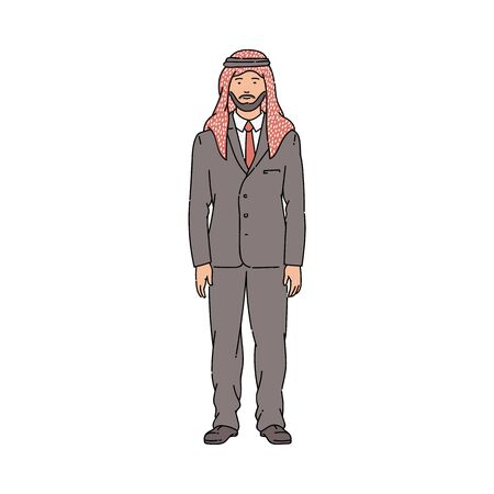 Muslim businessman in Arab kufiya head scarf standing in business suit.