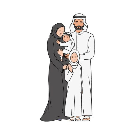 Muslim family with father, mother and child the sketch