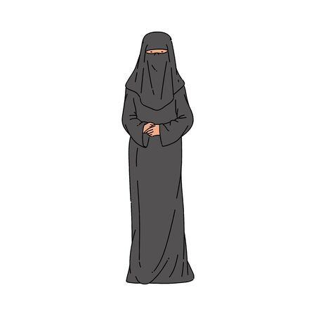 Muslim or arab woman in the traditional black long dress and hijab or burqa