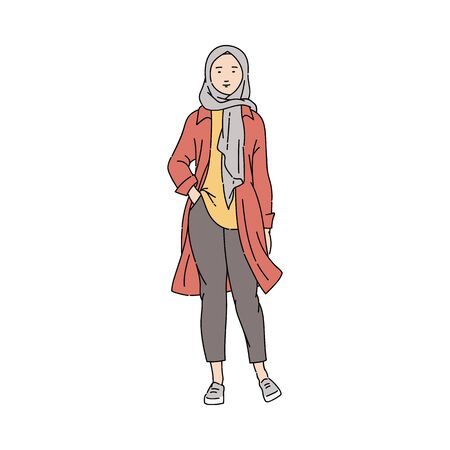 Fashionable, young and modern Arab Muslim girl or woman in pants and hijab. Stock Illustratie