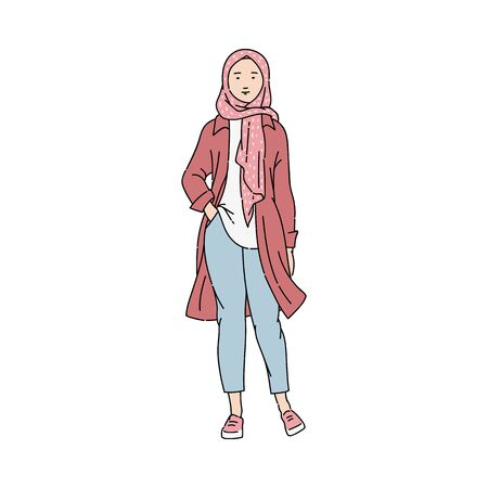 Modern Muslim girl in pink hijab standing and smiling. Ilustrace