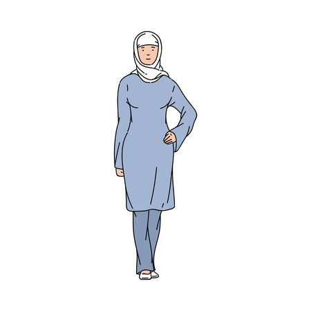 Arab Muslim woman in hijab and blue dress standing in model pose and smiling, Arabic cartoon character in traditional Arabian clothes