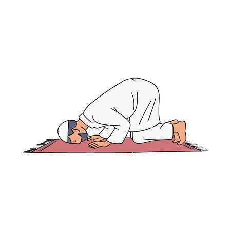 Religious muslim man praying inside the mosque Иллюстрация