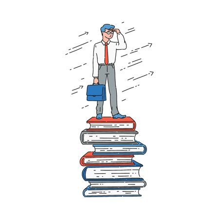 Businessman standing on top of book stack and looking at horizon, well-read smart business man reaching success because of education and knowledge, isolated flat hand drawn cartoon vector illustration