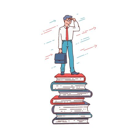 Education and career success concept - cartoon businessman standing on top of stacked book pile, knowledge and wisdom giving advantage, isolated flat cartoon vector illustration
