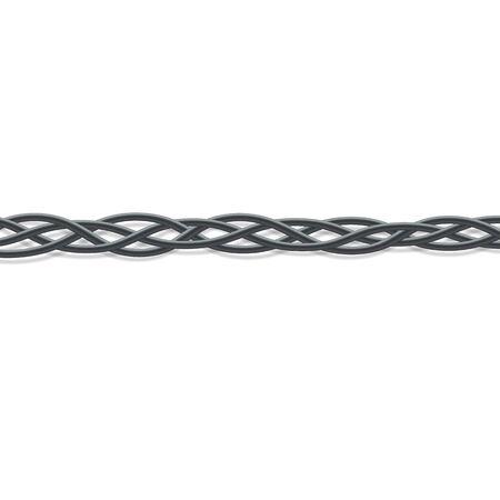 Schwarze elektrische Kabel verflochten zu einem Geflecht. Schlechte Verkabelungslösung und Technologieverbindungsverdrahtung, realistische gebogene Gummilinien Grenze - isolierte Vektorillustration auf weißem Hintergrund.