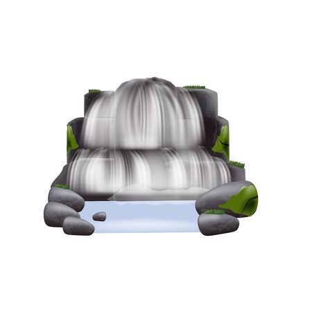 Element of natural landscape the realistic cascade stream of river waterfall flowing among mountain rocks and plants the vector illustration isolated on white background.