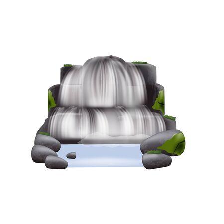 Elemento del paisaje natural la corriente en cascada realista de la cascada del río que fluye entre las rocas de la montaña y las plantas, la ilustración vectorial aislada sobre fondo blanco.
