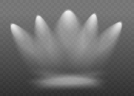 Spotlights or lamps illuminating transparent background for show contest or interview realistic vector illustration. Stage or podium source of electric light or bright spot. Ilustração Vetorial