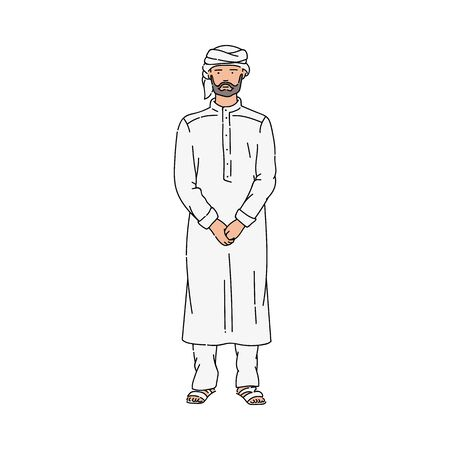 Cartoon Muslim man in traditional grey   and turban standing with serious face. Ilustrace